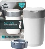 Tommee Tippee Twist and Click Advanced Nappy Bin, Includes 1x Refill Cassette, Locks in Odours/Germs